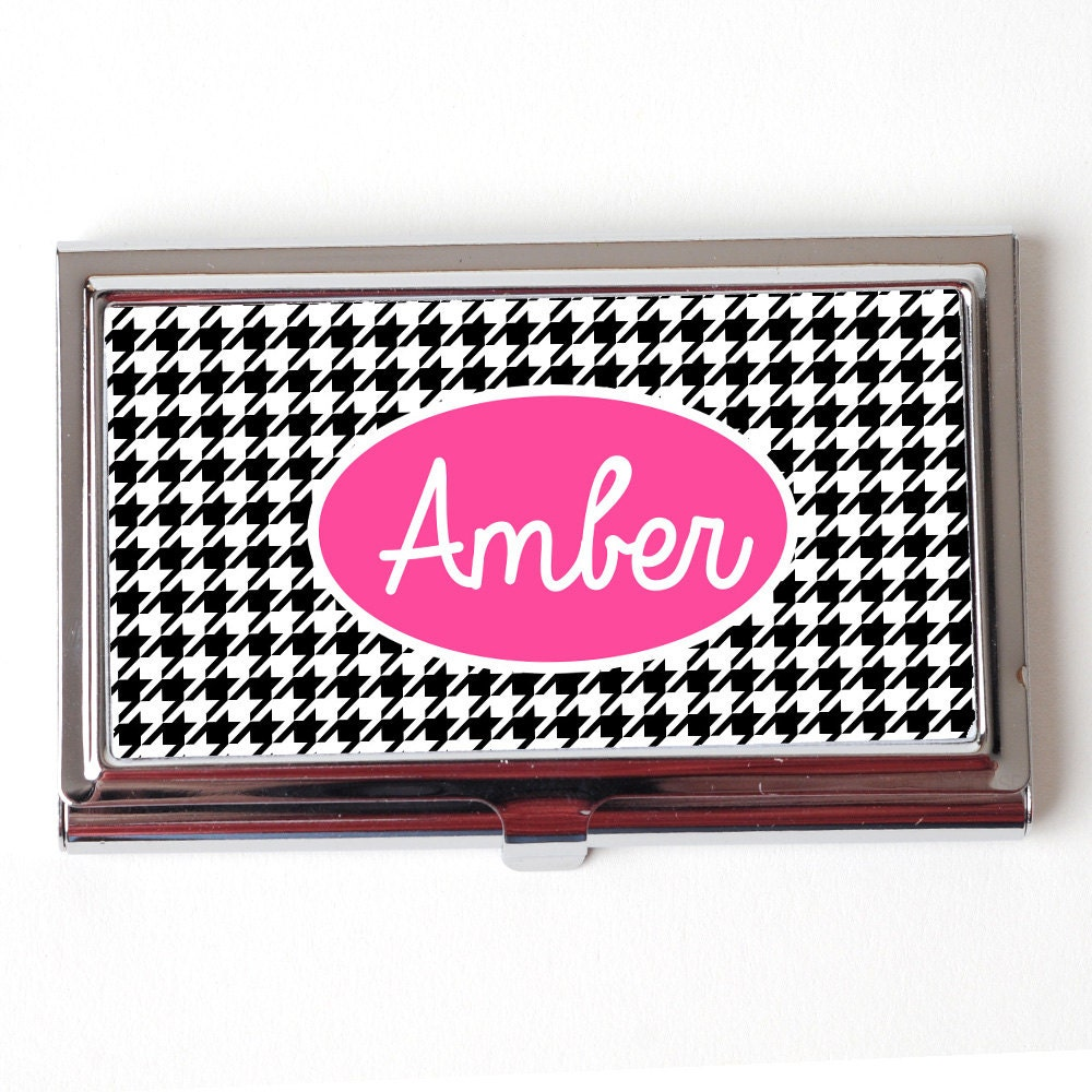 Personalized Business Card Case Houndstooth Custom Business