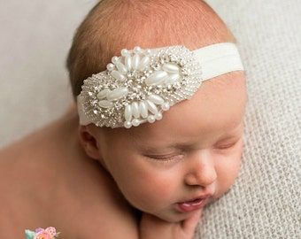 Baby headband,Christening headband,newborn headband, baptism headband,flower girl headband, Wedding headband,baby girl headband, Baby Bows.