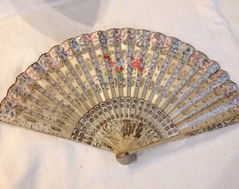 Vintage Hand Painted Paper and Fabric Fan