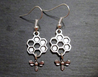 Petite Honeycomb with Dangling Honey Bee Charm Earrings