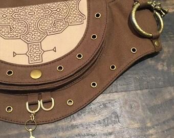 Ayawaska Shipibo patternt pocket belt 100% cotton, vegan, vegetarian