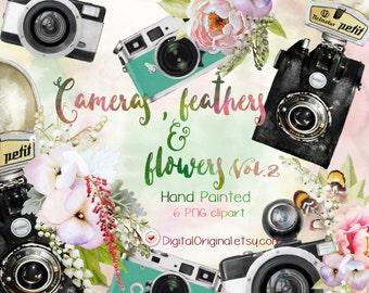 Retro cameras clipart / Cameras  feathers & flowers Vol.2 /  High Quality 300ppi / Big size / PNG.