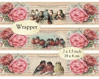 Wrapper Vintage Birds Instant Download digital collage sheet E119 rose
