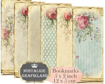 Shabby Chic Bookmarks Instant Download digital collage sheet E170 Vintage Pastel Paper