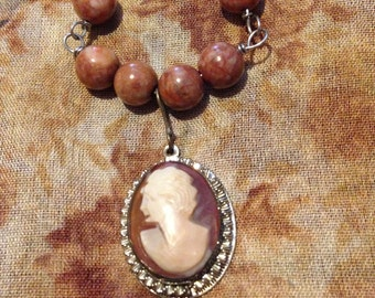 Brown Cameo Vintage Pendant Necklace