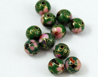 Green Vintage Cloisonne Round Beads Chinese Enamel Floral 8mm (6)