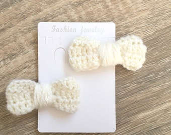 Crochet hair bow clips (pair) - Made to Order