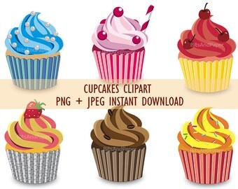 6 cupcakes clipart, instant download. Printable PDF + JPEG Letter size, 6 PNG on transparent background for scrapbooking, cards, and more