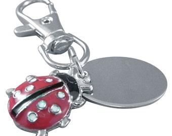Ladies ladybird / ladybug custom engraved keyring with gift pouch - PL33