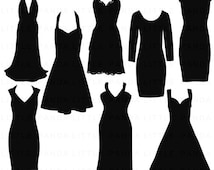 70% OFF SALE Black Dress Silhouette Digital Clip Art - Personal and Commercial Use - Instant Download - C122