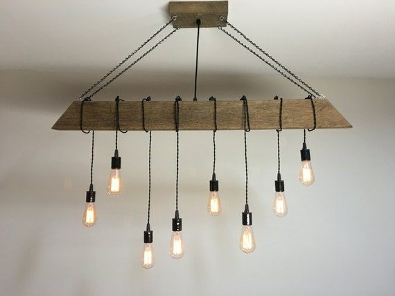 48 Reclaimed Barn Timber Beam Light Fixture With 8