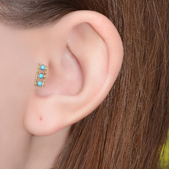 2mm Turquoise Nose Ring Stud Gold Nose Piercing Nose Stud