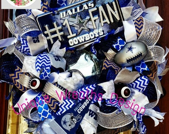 Dallas Cowboy Wreath, Cowboys Mesh Wreath, Cowboys Door Wreath NFL Wreath, Dallas Wreath, NFL Football