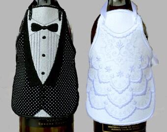 Wine Bottle Apron, Wedding Gift, Wedding Gift Basket, Wedding Gifts, Couple Shower Gift, Bride and Groom, Wedding Decor, Wine