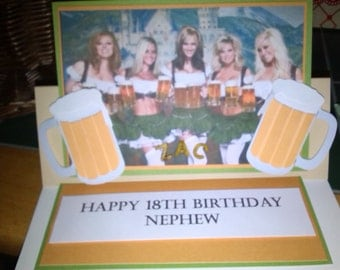 Beer and Beautiful women Birthday card