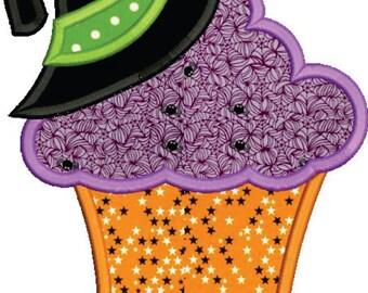 Witch Hat Cupcake Applique Design, Halloween Applique, Witch Cupcake Applique Embroidery Design 4x4 5x7 6x10 8x8