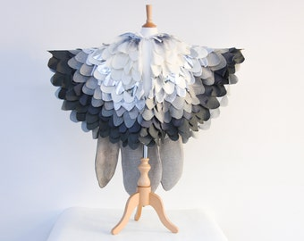 Silver Grey Snow Owl Costume, Bird Cape, Wings for Halloween, Carnival, Imaginative Role Cos Play