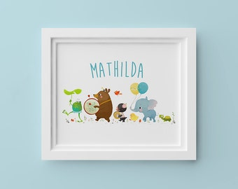 Animal Parade – 8x10in Personalized Children's Art Print