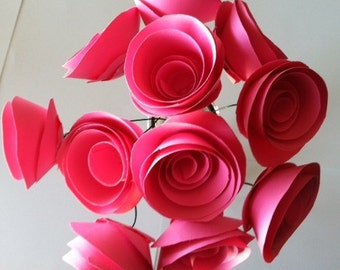 Hot Pink Paper Roses with Stems One Dozen for Weddings Baby Bridal Showers Reception Home Decor All Colors Available