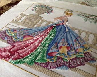 Princess Grace  Ball Gown- Haute Couture 1950s Fashion style Counted Cross Stitch Chart Pattern Instant Download