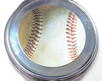 Baseball Inset Metal Compact Makeup Mirror Case MEN-0050