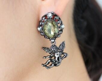 Emerald effect onyx cupid drop earrings, cupid drop earrings, cupid stud earrings, cupid, angel drop earrings, angel stud earrings