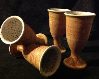 SPRING SALE, 20% OFF: 4 Handmade Pottery Wine Goblets