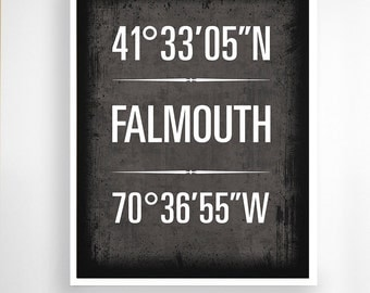 "Falmouth, Massachusetts, Geographic Coordinate Print,  8"" x 10"" or 11"" x14"""