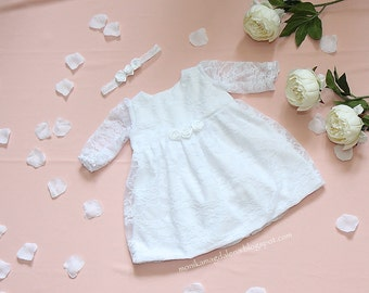 Dress baby girls christening with white lace and long sleeves with headband perfect for baptism, special occasions