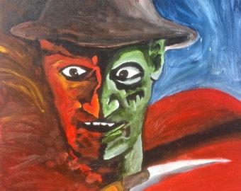 """Acrylic on Canvas Freddy Krueger Portrait 16 x 12"""""""
