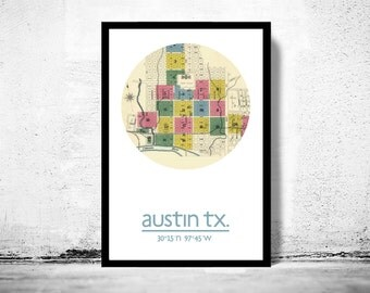 AUSTIN - city poster - city map poster print