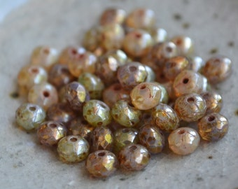 30 Opal Champagne Mix 5x3mm- Czech Picasso Beads- Faceted Rondelle (585-30)