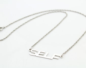 "Vintage Sterling Silver SELF Tag Necklace 15"" 1980s. [5744]"