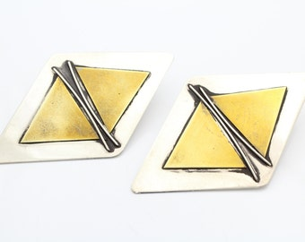 Large Vintage 2 Tone Geometrical Earrings by Sandy Comstock. [6655]