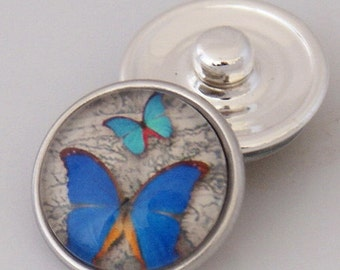 KB2506-AG Art Glass Print Chunk - Blue Butterflies
