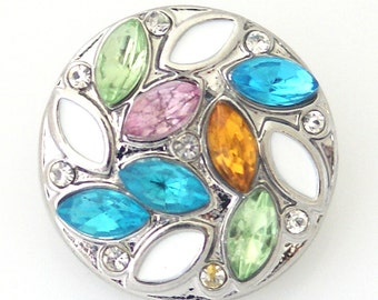 KB8117  Colored Crystal With White Enamel Ovals