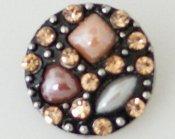 KB7940  Gold, Amber and White Shapes Surrounded by Peach Faceted Crystals