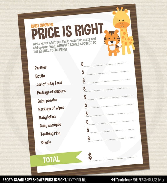 baby shower price is right game safari baby shower games price is