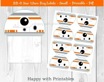 BB-8 Star Wars Bag label - BB8 treat bag label - SMALL - Star Wars bag label - Star Wars party - Star Wars The Force Awakens goodie label