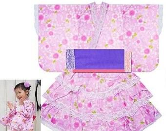 Girl's kimono dress set, yukata,cherry blossoms kimono dress,kids,From Japan