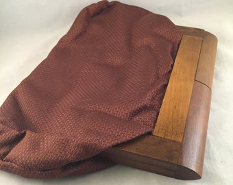 Vintage Brown Cloth Purse Evening Clutch With Wood Trim Closure
