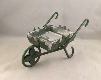 Metal Wheelbarrel With Glass Dish, Candy Dish, Table Decor