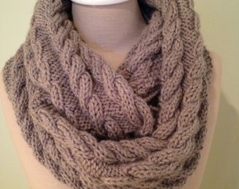 Cable Knit Soft Oatmeal Heather Colored Infinity Scarf.