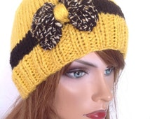 Beanie Slouch Cap Bow Designer Fashion Hip Chic Snow Winter Ski Snowboard Yellow Black Speckles Christmas Cyber Monday Black Friday Chic