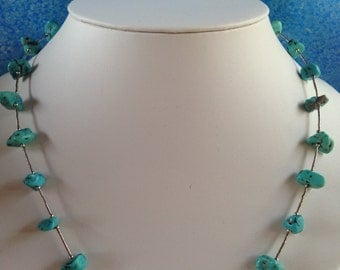 Turquoise liquid silver Sterling silver necklace