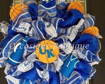 Kentucky Wildcats Basketball Wreath, Kentucky Wildcats Door Hanger, Sports Wreaths, Sports Decor, Kentucky Wildcats Decoration