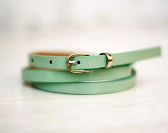 Free shipping! Patent leather belt, green belt, green leather belt, turquoise belt, skinny belt, waist belt, girl's belt