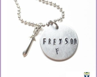 Freyson Rune Stamped Tag Necklace, Magnus Necklace, Norse Jewelry, Book Gift, Mythology Jewelry, Rune Pendant, Geekery, Nerdy Gift