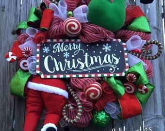 Christmas Wreath, Holiday Wreath, Traditional Christmas Wreath, Santa Wreath