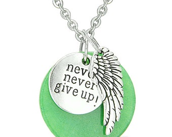 """Angel Wing and Inspirational """"Never Never Give Up"""" Amulet Green Quartz Pendant 18 Inch Necklace"""